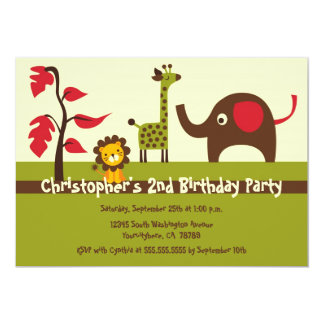 Retro jungle animals boy birthday party invitation