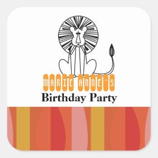 retro jungle lion BIRTHDAY PARTY keepsake label Square Sticker