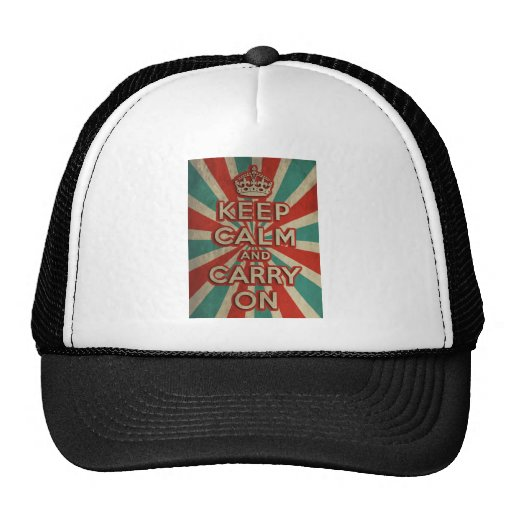 Retro Keep Calm And Carry On Trucker Hat