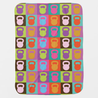 Retro Kettlebell Pattern - Workout And Weight Lift Baby Blanket
