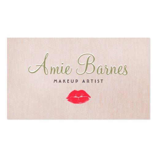 Retro Kissing Lips Makeup Artist Beige Linen Look Business Card Templates