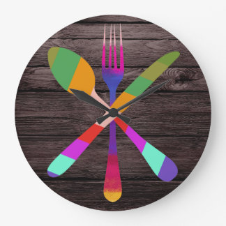 Retro Kitchen Cooking on Wood Large Clock