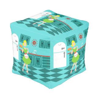 Retro Kitchen Cube Pouf
