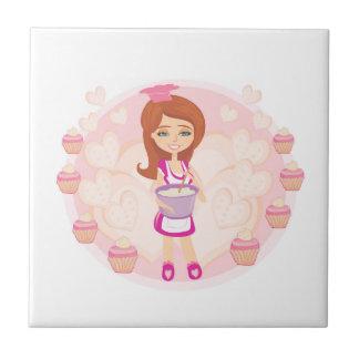 Retro kitchen Girl tile
