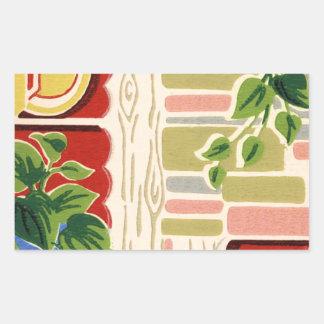 Retro Kitchen Wallpaper Rectangular Sticker