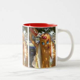 Retro Kitsch Hot Dog Statue Two-Tone Coffee Mug
