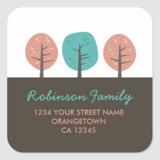 Retro Kitsch Trees Return Address Stickers