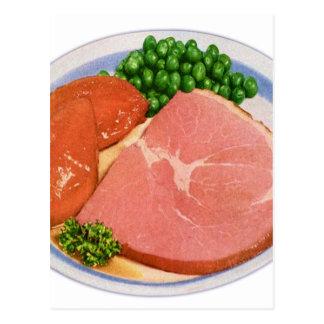 Retro Kitsch Vintage Food Ham and Peas Dinner Postcard