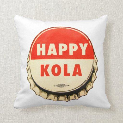 Retro Kitsch Vintage Soda Pop Happy Kola Cap Throw Pillow