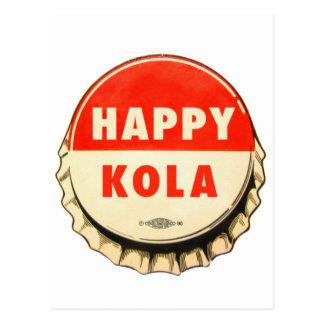 Retro Kitsch Vintage Soda Pop Happy Kola Cap Post Card