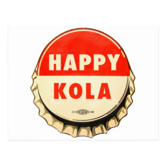 Retro Kitsch Vintage Soda Pop Happy Kola Cap Postcard