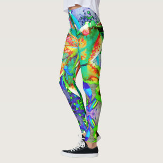 Retro kiwi lily leggings