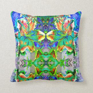 Retro kiwi Lily Mandala Cushion