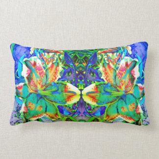 Retro kiwi Lily Mandala Lumbar Cushion