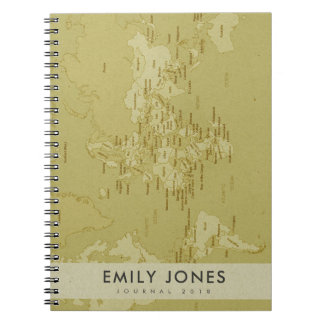 RETRO KRAFT BEIGE VINTAGE WORLD MAP PERSONALIZED NOTEBOOK