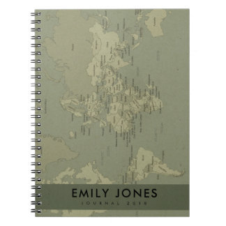 RETRO KRAFT GREY VINTAGE WORLD MAP PERSONALIZED NOTEBOOK