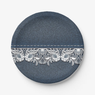 Retro Lace and Denim Texture 7 Inch Paper Plate