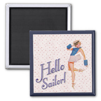 Retro Lady, Hello sailor! Magnet
