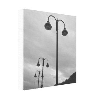 Retro Lampposts Black & White 4Mauree Canvas Print