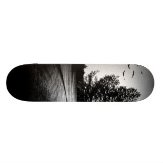 Retro Landscape Black an White Abstract Skateboard