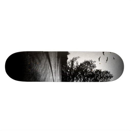 Retro Landscape Black an White Abstract Skateboard