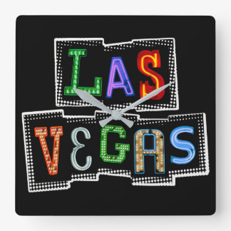 Retro Las Vegas Neon Square Wall Clock