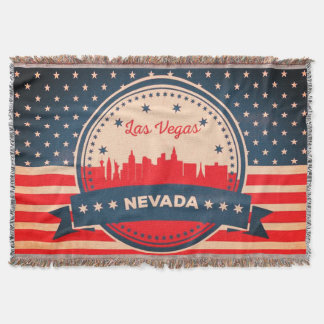 Retro Las Vegas Nevada Skyline Throw Blanket