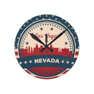 Retro Las Vegas Skyline Round Clock