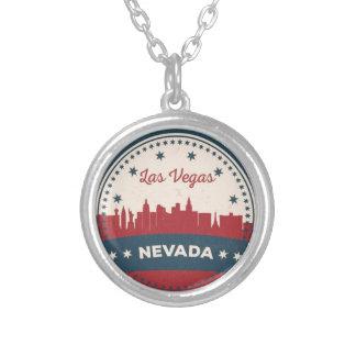 Retro Las Vegas Skyline Silver Plated Necklace