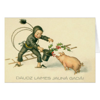 Retro Latvian Pig and Chimney Sweep New Year Card