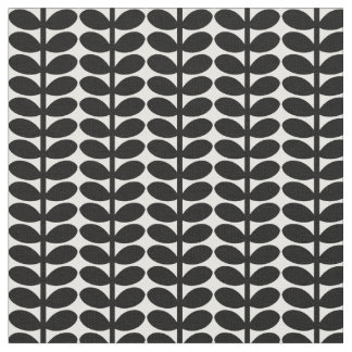 Retro Leaf Pattern, 1950's Flora, Black and White Fabric