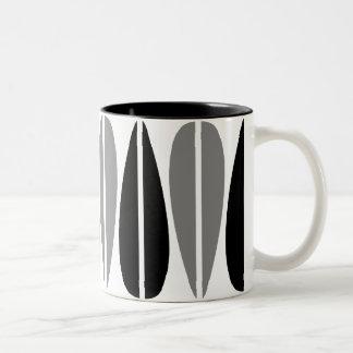 Retro Leaves - Black and Gray Coffee Mug
