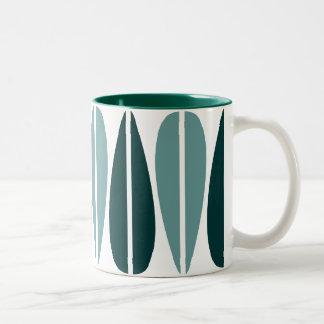Retro Leaves - Ocean Green and Dark Green Mug