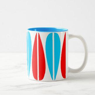 Retro Leaves - Red and Sky Blue Coffee Mug