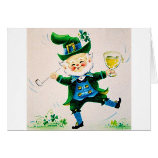 Retro Leprechaun, Pipe & Beer St. Patrick's Day Card