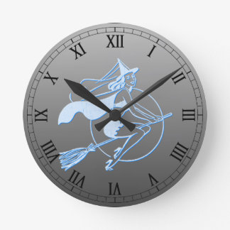 Retro Letterpress Style Witch Round Clock