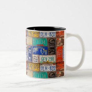 Retro license plate collection Two-Tone coffee mug