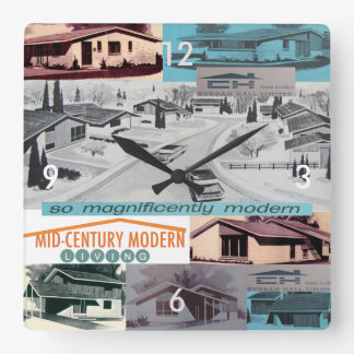 Retro-licious 60s Modern Mosaic! Square Wall Clock