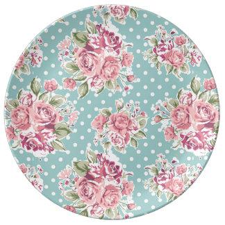retro light blue poke dots floral porcelain plate