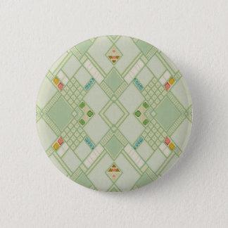 Retro Light Green Geometric Bohemian Tile Pattern 6 Cm Round Badge