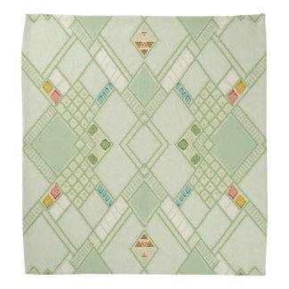 Retro Light Green Geometric Bohemian Tile Pattern Bandana