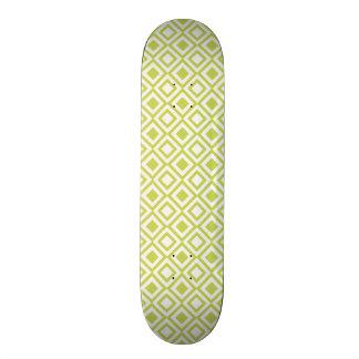 Retro Light Lime Green Geometric Pattern Skate Deck
