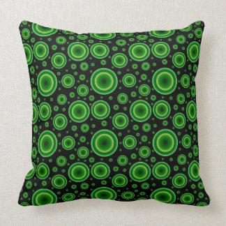 retro lime green circle pattern throw pillow