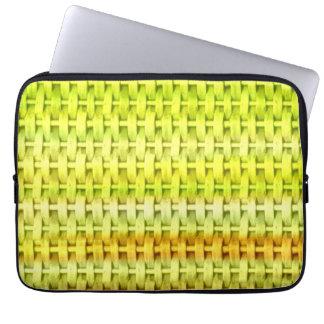 Retro lime green wicker art graphic design laptop sleeves