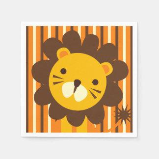 Retro Lion on Stripes Paper Napkins