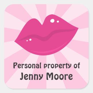 Retro lipstick lips personal property labels tags square sticker
