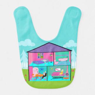 Retro Living Doll House Baby Bib