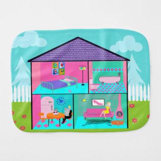 Retro Living Dollhouse Burp Cloth