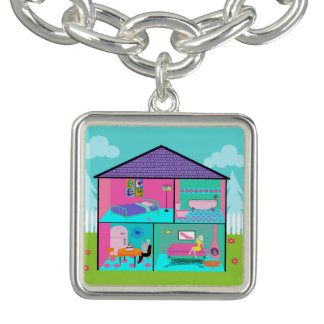 Retro Living Dollhouse Charm Bracelet