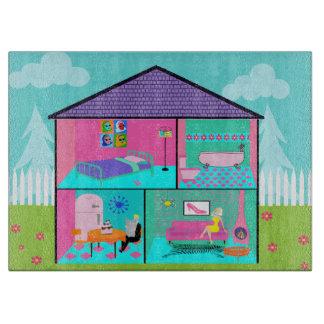 Retro Living Dollhouse Cutting Board